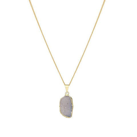 Drusy Drop Necklace - Natural
