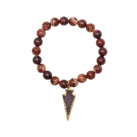 Gemstone Stretch Bracelet with Drusy Arrow - Snake Skin Jasper