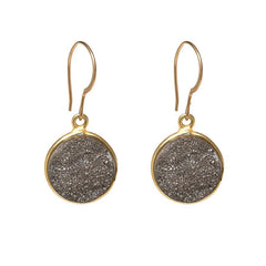Drusy Dangle Earrings - Dark Grey