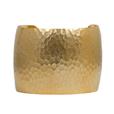 Brushed Gold Hammered Cuff
