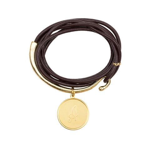 Leather Initial Wrap Bracelet - Brown/Gold