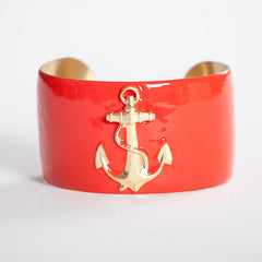 Cuff Bracelet - Coral Anchor