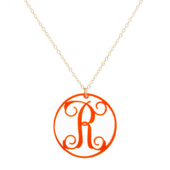 "Charm Circle Acrylic Initial Necklace - Large 1 1/2"" Orange"