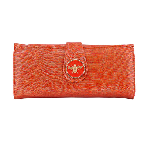 Lizard Embossed Charm Wallet  - Orange Bee