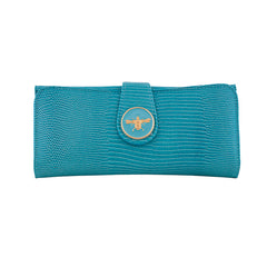Lizard Embossed Charm Wallet  - Turquoise Bee