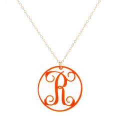 "Charm Circle Acrylic Initial Necklace - Medium 1 1/4"" Orange"