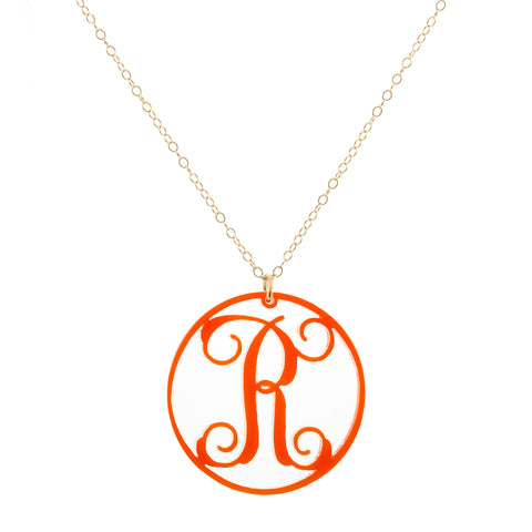 "Charm Circle Acrylic Initial Necklace - Small 1"" Orange"