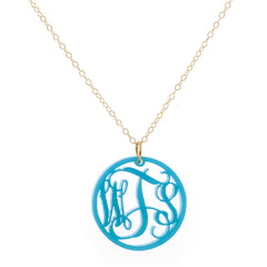 Monogrammed Acrylic Circle Necklace - Turquoise