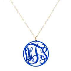 Monogrammed Acrylic Circle Necklace - Cobalt Blue