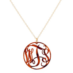 Monogrammed Acrylic Circle Necklace - Tortoise
