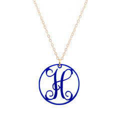 "Charm Circle Acrylic Initial Necklace - Large 1 1/2"" Cobalt"