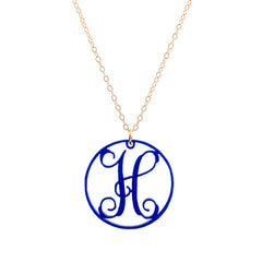 "Charm Circle Acrylic Initial Necklace - Medium 1 1/4"" Cobalt"