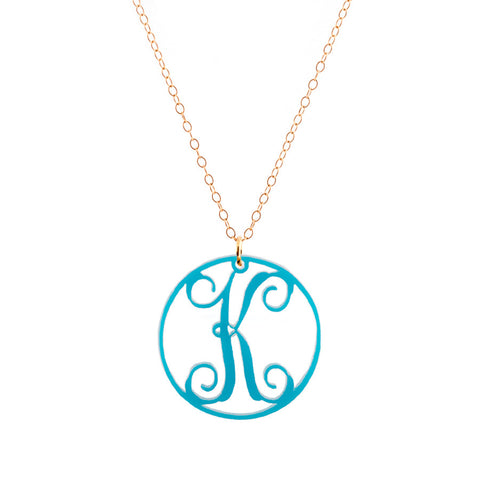 "Charm Circle Acrylic Initial necklace- Large 1 1/2"" Turquoise"