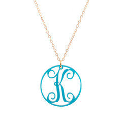 "Charm Circle Acrylic Initial Necklace - Medium 1 1/4"" Turquoise"