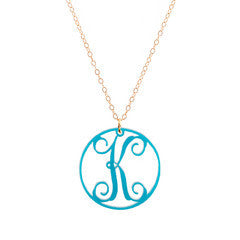 "Charm Circle Acrylic Initial Necklace - Small 1"" Turquoise"
