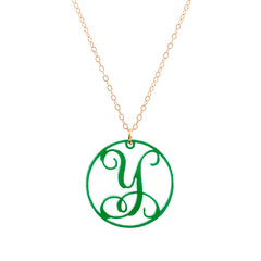Charm circle Acrylic Initial necklace - Green