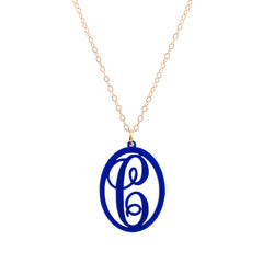 Charm Oval Acrylic Initial Necklace  - Large Cobalt