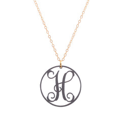 Charm circle Acrylic Initial necklace - Gunmetal Large 1 1/2""