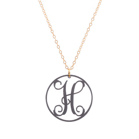Charm circle Acrylic Initial necklace - Gunmetal Medium 1 1/4""