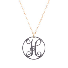 Charm circle Acrylic Initial necklace - Gunmetal Small 1""