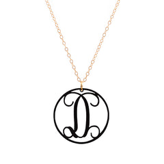 Charm circle Acrylic Initial necklace - Black Large 1 1/2""