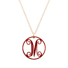 "Charm circle Acrylic Initial necklace - Large 1 1/2""Tortoise"