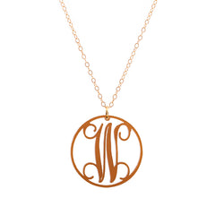 Charm circle Acrylic Initial necklace - Brushed Gold