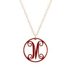 "Charm circle Acrylic Initial necklace - Small 1"" Tortoise"