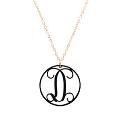Charm circle Acrylic Initial necklace - Black Medium 1 1/4""