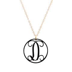 Charm circle Acrylic Initial necklace - Black Small 1""
