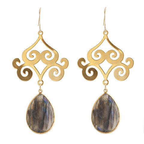 Pasha Taj Mahal Earrings - Labradorite