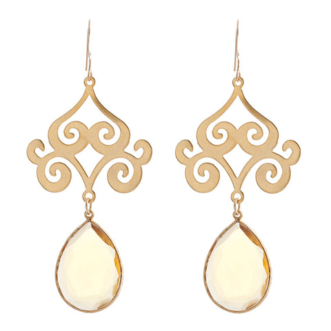 Pasha Taj Mahal Earrings - Citrine