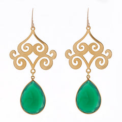Pasha Taj Mahal Earrings - Emerald Onyx