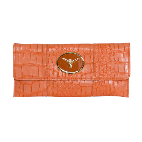 Crocodile Embossed Clutch - orange - steer head