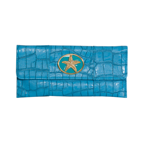 Crocodile Embossed Clutch - Turquoise - starfish