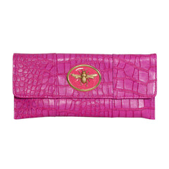 Crocodile Embossed Clutch - Hot Pink - bee