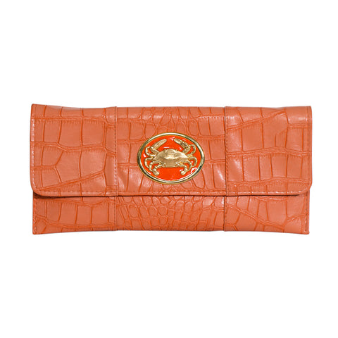Crocodile Embossed Clutch - orange - crab