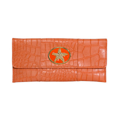 Crocodile Embossed Clutch - orange - starfish