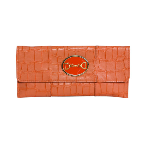Crocodile Embossed Clutch - orange - horse bit