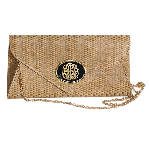Straw Envelope Clutch - Natural - Black Universal Mongram
