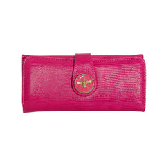 Lizard Embossed Charm Wallet  - Pink Bee