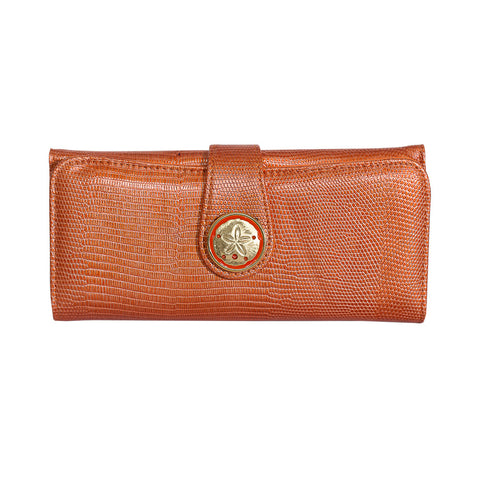 Lizard Embossed Charm Wallet  - Orange Sandollar