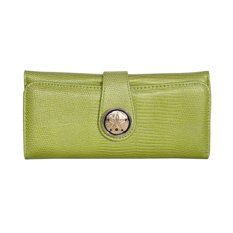 Lizard Embossed Charm Wallet  - Lime with Navy Sandollar