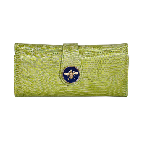 Lizard Embossed Charm Wallet  - Lime with Navy Bee