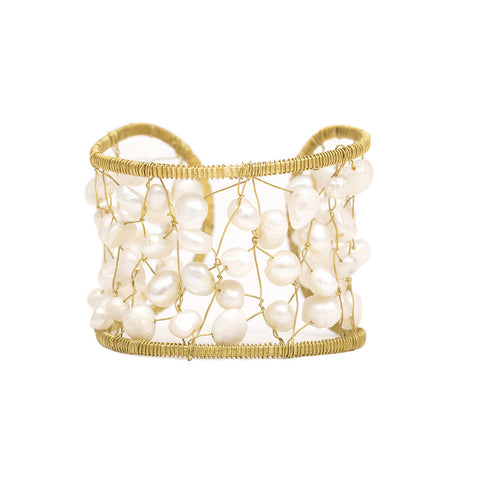 Brushed Gold Pearl Cage Cuff