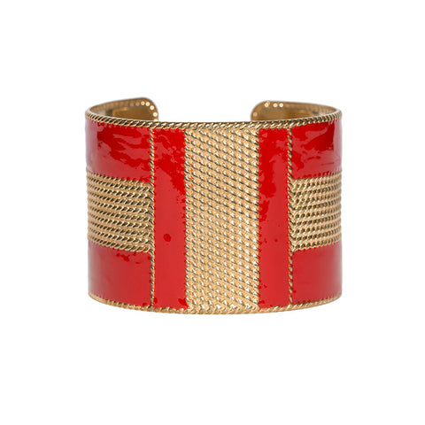 Art Deco Enamel Cuff - Red