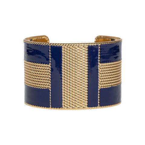 Art Deco Enamel Cuff - Navy