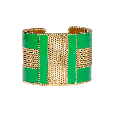 Art Deco Enamel Cuff - Emerald Green