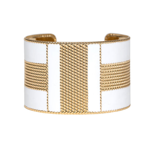 Art Deco Enamel Cuff - White