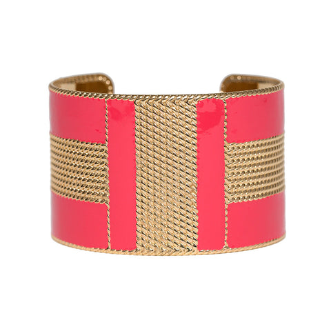 Art Deco Enamel Cuff - Hot Pink